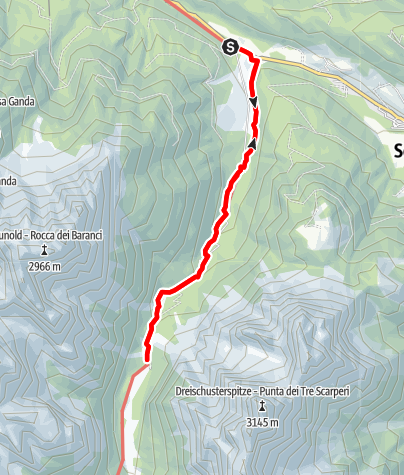 Map / Snowshoe hike: Val Campo di Dentro/Innerfeldtal Valley