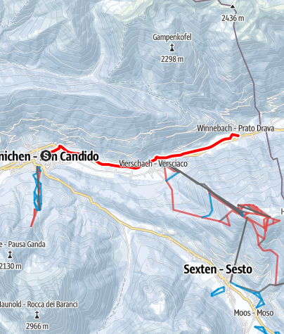 Map / Winter hike: San Candido/Innichen - Versciaco/Vierschach - Prato Drava/Winnebach