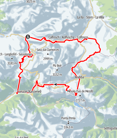 Map / MTB Tour Sellaronda clockwise
