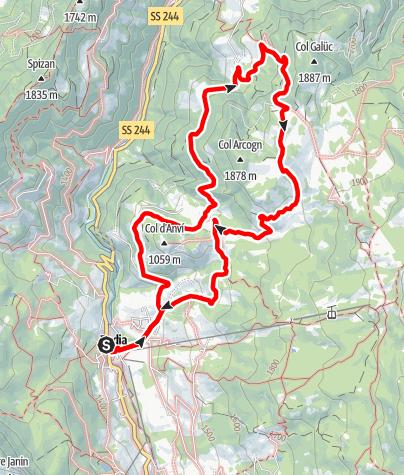 Kaart / Von Badia über die Armentara Wiesen