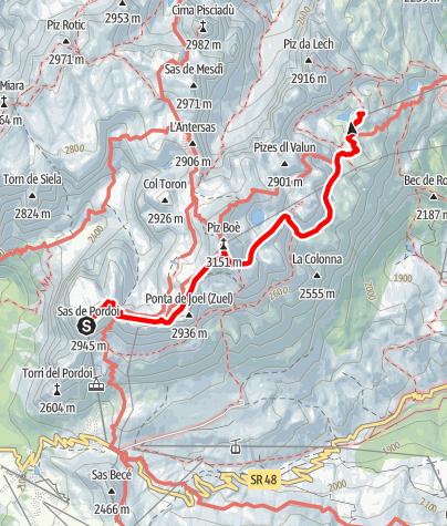Karte / Überquerung der Sella Gruppe vom Sass Pordoi nach Corvara