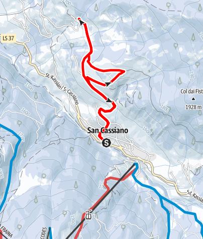 "Map / Winter hike on the ""Tru di Lersc"" (Larch Trail) in San Cassiano"