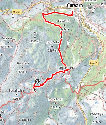 Karte / Von der F. Kostner Hütte nach Corvara über Crëp de Sela