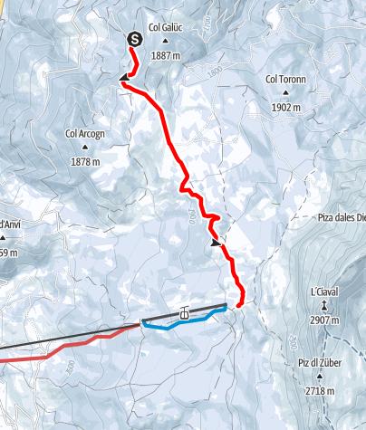 Mapa / Winterwandern von La Val nach La Cialciara und La Crusc