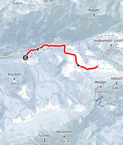 Mapa / Schneeschuhwanderung zur Gampen Alm