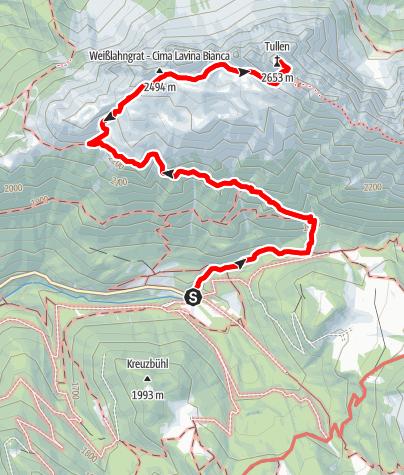 Mappa / Escursione alla vetta del dolomitico Monte Rovina