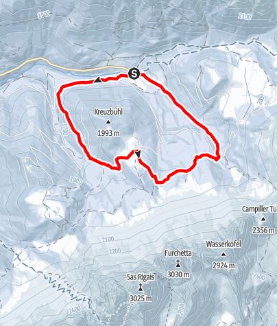 Map / To Dusler Alm on the Funes/Villnöss alpine pasture