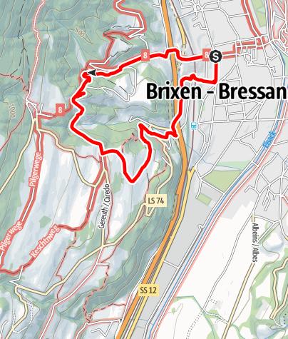 Kaart / Der St. Cyrillusweg in Brixen