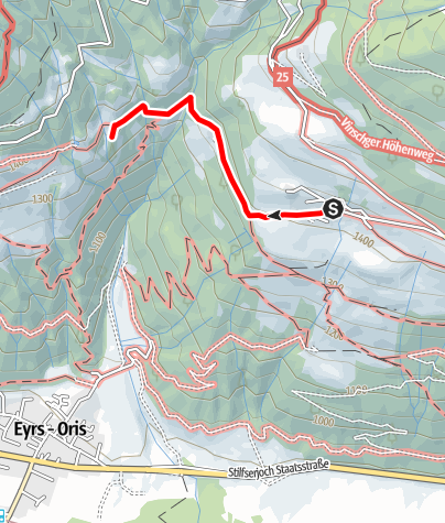 Cartina / Escursione lung il sentiero rosario Tanas