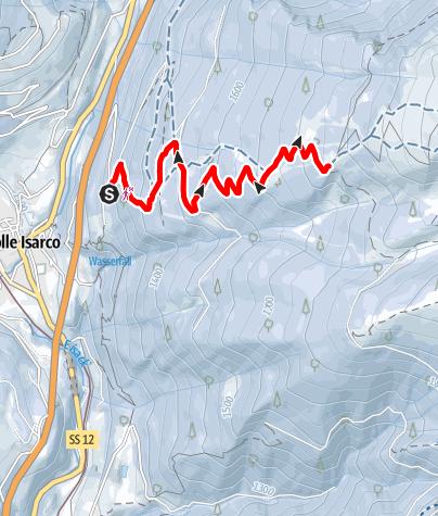 Map / winter hiking trail Hühnerspielhütte/Rifugio Cima Gallina