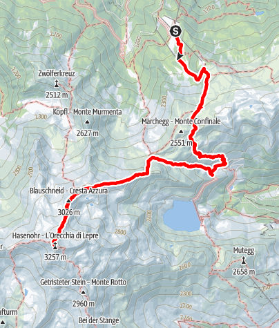 Map / Hike to the l'Orecchia di Lepre/Hasenohr Peak