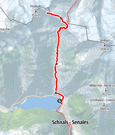 Map / Hiking trail to the place of discovery of Ötzi