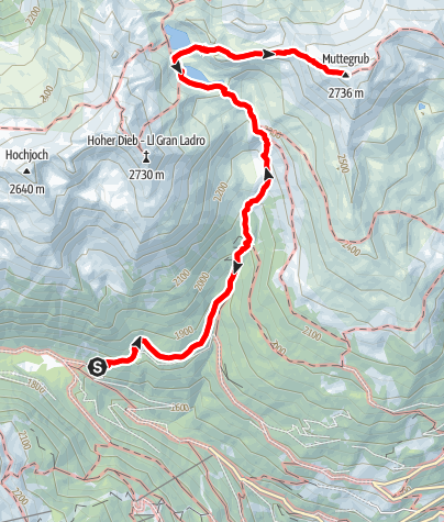 Map / Alpine Tour to the Kofelraster Seen Lakes - Muttegrub Peak