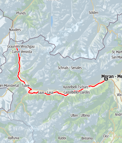 Карта / Etschradweg Via Claudia Augusta - Etappe Rabland - Reschensee