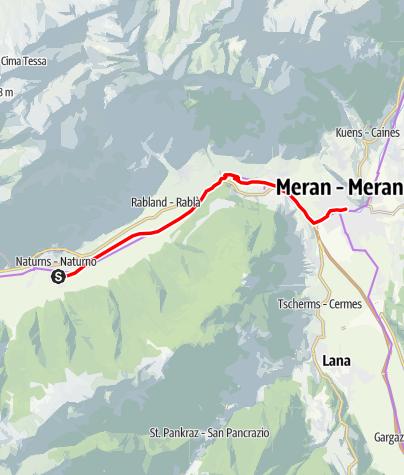 Mapa / Radtour entlang der Etschradroute an der Via Claudia Augusta, Teilstrecke Naturns – Meran