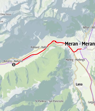 """Mappa / Ciclabile """"Via Claudia Augusta"""" da Naturno a Merano"""