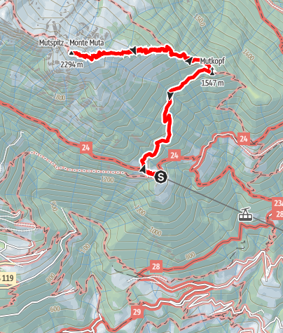 Map / Alpine tour to the Mutspitze mountain