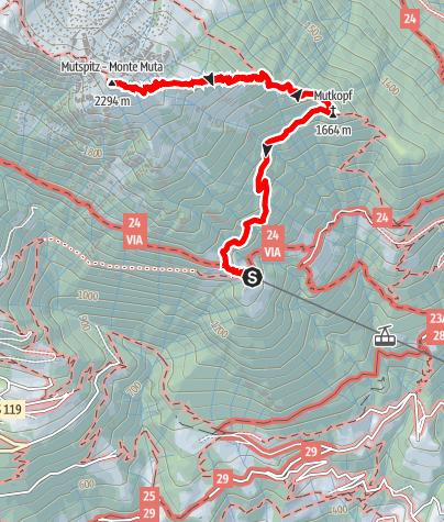 Map / Alpine tour to the Mutspitze mountain