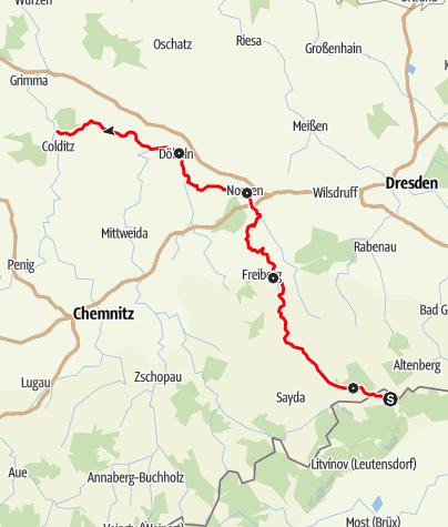 Karte / Mulderadweg - Freiberger Mulde