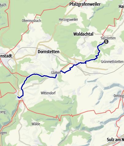 Karte / Klosterroute Nordschwarzwald Etappe7: Waldachtal-Salzstetten - Loßburg