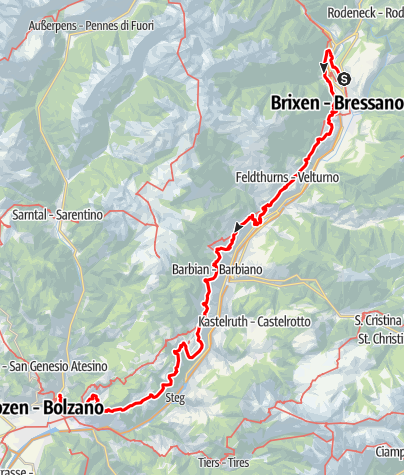 """Mappa / Il """"Sentiero del Castagno"""" dall'Abbazia di Novacella (Bressanone) a Castel Roncolo (Bolzano)."""