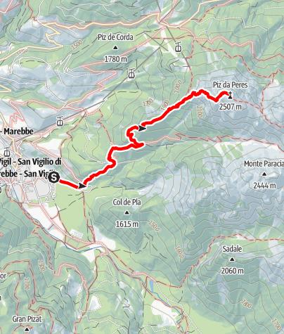 Map / Mountain hike to Piz da Peres peak