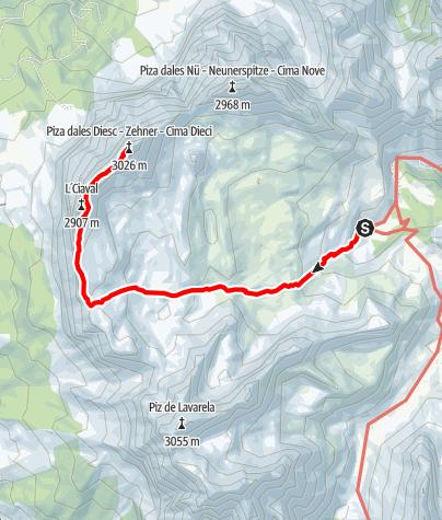 Karte / Bergwanderung: Anstieg von der Fanesalm zum Sas dles Diesc