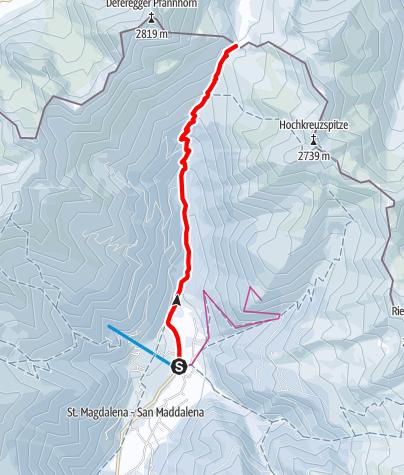 Karte / Schneeschuhtour: Gsieser Törl in St. Magdalena/Gsieser Tal