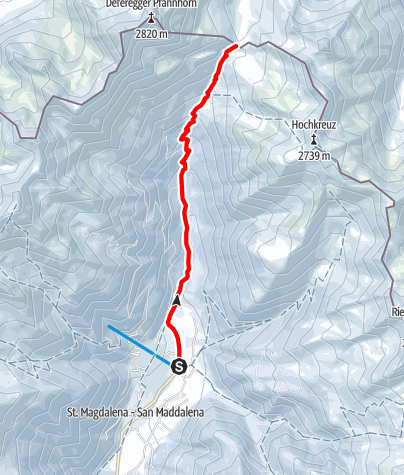 Map / Snowshoe Tour: Forcella di Casies/Gsieser Törl in S. Maddalena/Gsieser Tal Valley