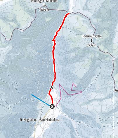 Mapa / Schneeschuhtour: Gsieser Törl in St. Magdalena/Gsieser Tal