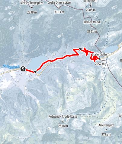 Map / Snowhike: Antholzersee / Lago di Anterselva Lake - Staller Saddle