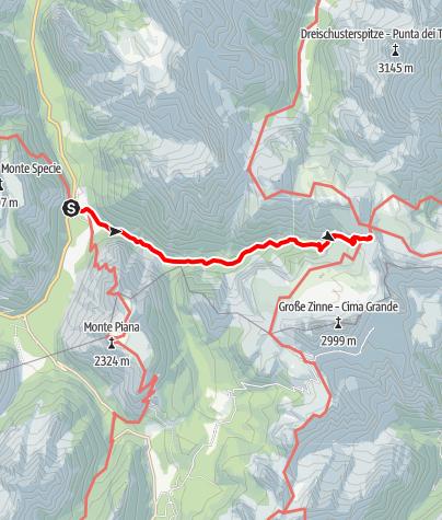Karte / Sommerwanderung: Drei-Zinnen-Blick/Landro - Drei Zinnen Hütte