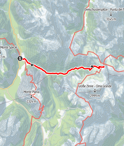 Map / Summer hiking tour: View of the Three Peaks/Landro - Rifugio Locatelli/Drei Zinnen Hütte hut