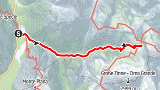 Mapa / Sommerwanderung: Drei-Zinnen-Blick/Landro - Drei Zinnen Hütte