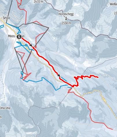 Cartina / Escursione invernale - Moso - Passo Monte Croce - Malga Coltrondo