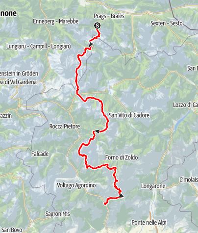 Mapa / Dolomitenhöhenweg Nr. 1