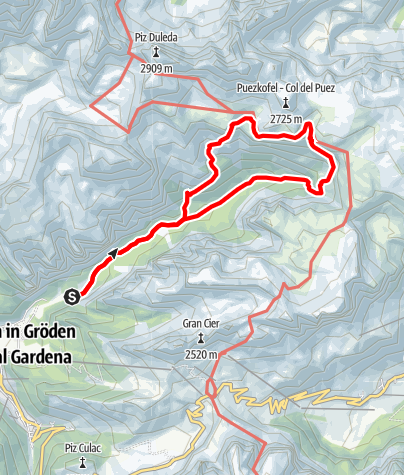 Map / Excursion from Vallunga to the Puez hut
