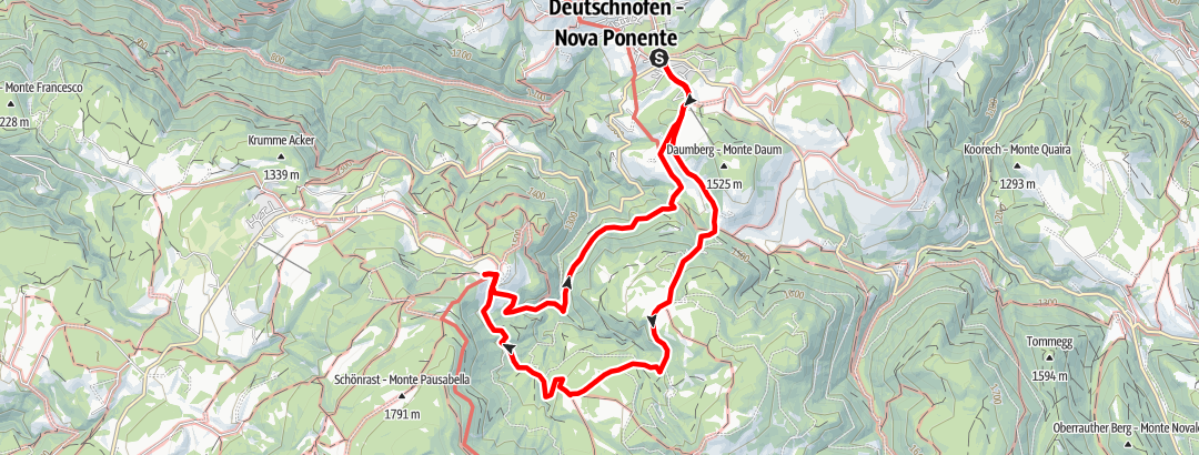 Static Map Hike from Nova Ponente to the Maria Weißenstein Monastery