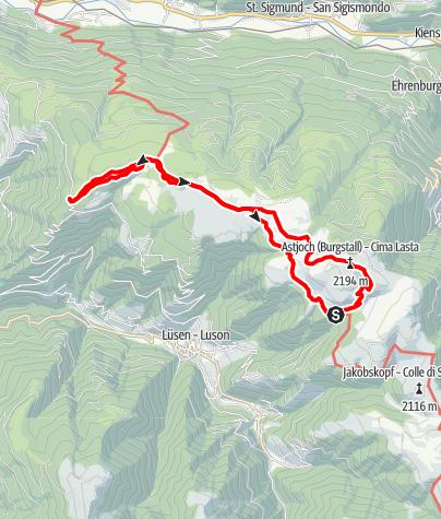 Mapa / Wanderung auf das Astjoch auf der Rodenecker - Lüsner Alm