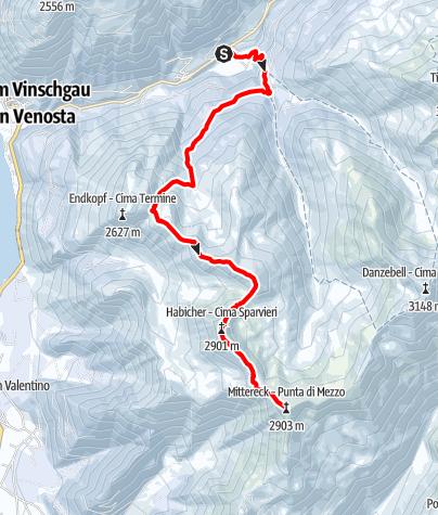 Map / Skitouring Mittereck in Vallelunga/Langtaufers
