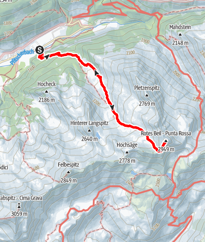 Map / To the Rotes Beil Summit