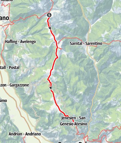 Mapa / Europäischer Fernwanderweg E5 - Etappe Meran 2000 bis nach Jenesien