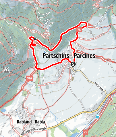 Mapa / Partschinser Waalweg - Zielbach Runde