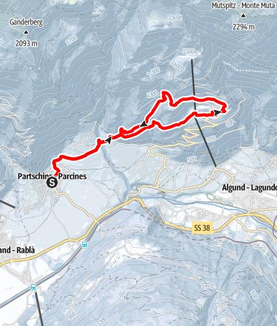 Mapa / Von Partschins über den Saxnerweg nach Vellau