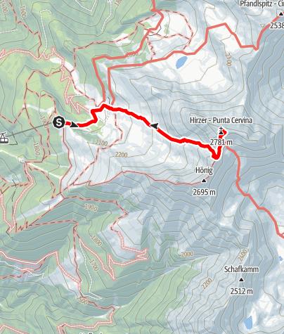 Map / Alpine Tour to the Peak of the Hirzer Mountain