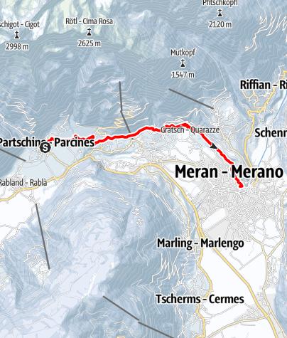 Mapa / Von Partschins über den Algunder Waalweg zur Kurstadt Meran