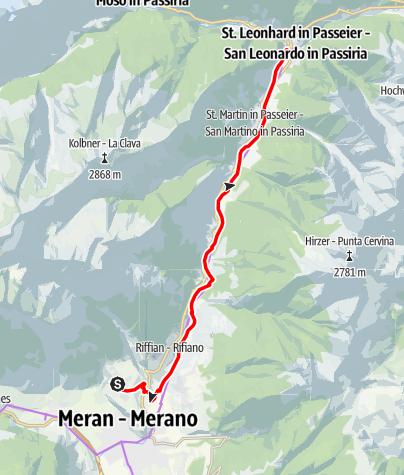 Kaart / Radtour von Dorf Tirol ins Passeiertal