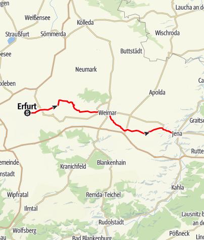 "Karte / Touren-Tipp am Lutherweg: ""Luthers Schweigen"" - Radtour Erfurt - Weimar - Jena"