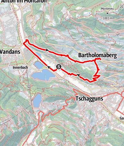 Karte / Von Gantschier zur Barrockkirche Bartholomäberg