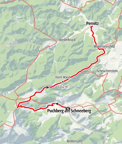 Mapa / 2-tägige Genusswanderung von Puchberg nach Pernitz